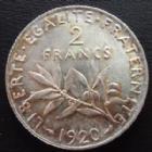 Photo numismatique  Monnaies Monnaies Françaises Troisième République 2 Francs 2 Francs semeuse de Roty 1920, G.532 SUPERBE