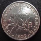 Photo numismatique  Monnaies Monnaies Françaises Troisième République 2 Francs 2 Francs semeuse de Roty 1902, G.532 traces de nettoyage sinon TB+