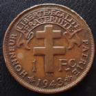 Photo numismatique  Monnaies Anciennes colonies Françaises Cameroun 1 Franc Cameroun Français, 1 franc 1943, LEC.14 TTB à SUPERBE