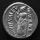 Photo numismatique  Monnaies République Romaine Acilia 49 avant Jc Denier, denar, denario, denarius M.ACILIUS GLABRIO, denier Rome en 49 avant JC, tête de Salus, Valetudo debout à gauche, 4,10 g, SYD.922 avers légèrement décentré sinon SUP à FDC