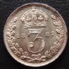 Photo numismatique  Monnaies Monnaies étrangères Grande Bretagne, Great Britain, Angleterre 3 Pences Grande Bretagne, Great Britain, Victoria, 3 pences 1887, 1,40 grms, KM 758 petites traces à l'avers sinon SUPERBE/SUPERBE+