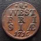 Photo numismatique  Monnaies Monnaies étrangères Pays Bas, Netherland, Frisia Duit Pays Bas, Netherland, west Frisia, west Friesland, duit 1716, 2,90 grms, KM.100 TTB