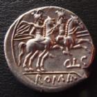 Photo numismatique  Monnaies République Romaine Lutatia 206-200 avant Jc Denier, denar, denario, denarius Q.LUTATIUS CATULUS - CERCO, denier Rome en 206-200 avant JC, Discures QLC, 18-19 mm, 4,24 grms, SYD.274 SUPERBE+ R!