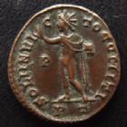 Photo numismatique  Monnaies Empire Romain CONSTANTIN I, CONSTANTINUS I, CONSTANTINO Follis, folles,  CONSTANTIN I, CONSTANTINUS I, Follis Ticinium en 317-318, Soli Invicto Comiti PT/P, 19 mm, 3,52 grms, RIC 68 SUPERBE