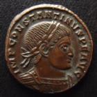 Photo numismatique  Monnaies Empire Romain CONSTANTIN I, CONSTANTINUS I, CONSTANTINO Follis, folles,  CONSTANTIN I, CONSTANTINUS I, follis Ticinium en 317-318, Soli Invicto Comiti, PT/P, 18 mm, 2,86 grms, RIC 68 SUPERBE+/SUPERBE