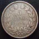 Photo numismatique  Monnaies Monnaies Françaises Défense nationale 5 Francs Gouvernement de la défense Nationale, 5 francs Cérès 1870 K Bordeaux, G.742 B à TB