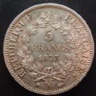 Photo numismatique  Monnaies Monnaies Françaises Troisième République 5 Francs 5 francs Hercule 1873 A, G.745a TTB à SUPERBE