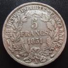Photo numismatique  Monnaies Monnaies Françaises Deuxième République 5 Francs 2e République, 5 francs Cérès 1851 A, G.719 TTB