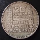 Photo numismatique  Monnaies Monnaies Françaises Troisième République 20 Francs Turin 20 Francs Turin 1933, argent 680°/°°, 20 grms, G.852 TTB
