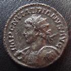 Photo numismatique  Monnaies Empire Romain NUMERIEN, NUMERIAN, NUMERIANUS, NUMERIANO Antoninien, antoninianus, antoniniane NUMERIEN, NUMERIANUS, antoninien Lyon en 283-284, buste avec haste et bouclier, Meduse sur le bouclier!, 3,71 grsm, 21-22 mm,  RIC.395 TTB+/TTB Rare!