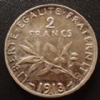 Photo numismatique  Monnaies Monnaies Françaises Troisième République 2 Francs 2 Francs semeuse de Roty 1913, G.532 petits coups sur tranche sinon TTB