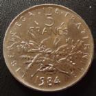Photo numismatique  Monnaies Monnaies Françaises Cinquième république 5 Francs 5 Francs semeuse de Roty 1984, G.771 FDC