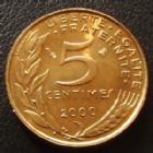 Photo numismatique  Monnaies Monnaies Françaises Cinquième république 5 Centimes 5 Centimes Lagriffoul 2000, G.175 BU
