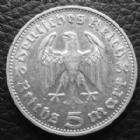 Photo numismatique  Monnaies Allemagne après 1871 allemagne, deutschland, germany, dritte reich, 3 em reich  5 mark Hindenburg 5 Mark Hindenburg 1936 J, J.360 TTB
