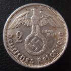 Photo numismatique  Monnaies Allemagne après 1871 Allemagne, troisième reich, drittes reich, third reich 2 mark, Zwei mark 3e Reich, Dritte Reich, 2 mark Hindenburg 1939 A, J.366 traces de nettoyage sinon TTB