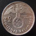 Photo numismatique  Monnaies Allemagne après 1871 allemagne, deutschland, germany, dritte reich, 3 em reich 2 Mark Hindenburg 3e Reich, Dritte Reich, 2 mark Hindenburg 1938 G, J.366 Traces de nettoyage sinon TTB