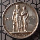 Photo numismatique  Monnaies Médailles Louis Philippe Médaille en argent LOUIS PHILIPPE Ier, médaille en argent 41 mm, la vaccine, attribuée à Mr MOUSSIER Médecin à Saint Vallier (Drôme 1840), pts traces SUPERBE