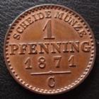 Photo numismatique  Monnaies Allemagne après 1871 Allemagne, Deutschland, Brandenburg Preussen 1 pfennig Brandenburg Preussen, Wilhelm I, 1 pfennig 1871 V, AKS.108 graffitis à l'avers sinon P.SUPERBE