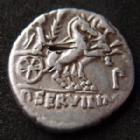 Photo numismatique  Monnaies République Romaine Servilia 100 avant Jc Denier, denar, denario, denarius P.SERVILLIUS Mf. RULLUS, denier Rome en 100 avant JC, buste de Minerve, Bige à droite, 3,78 grms, Cr.328, coup au revers, P.TTB