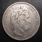 Photo numismatique  Monnaies Monnaies Françaises Louis Philippe 5 Francs LOUIS PHILIPPE I, 5 francs 1844 W Lille, G.678a TB+