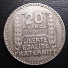 Photo numismatique  Monnaies Monnaies Françaises Troisième République 20 Francs 20 Francs turin 1936, G.852 TTB à SUPERBE année Rare!!