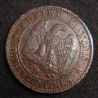 Photo numismatique  Monnaies Monnaies Françaises Second Empire 2 Centimes NAPOLEON III, 2 centimes 1857 D Grand D petit lion, frappe décalée à 8h00 !, G.103 TTB/TTB+ Rare!