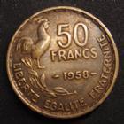 Photo numismatique  Monnaies Monnaies Françaises 4ème république 50 Francs 50 Francs Guiraud 1958, G.880 TTB Rare!