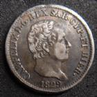 Photo numismatique  Monnaies Monnaies étrangères Italie, Italia, Sardaigne, Sardinien 50 centesimi Italie, Italia, Sardaigne, Carl Felix 50 centesimi 1829 Turin, 2,47 grms, KM.124.1 TTB