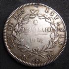 Photo numismatique  Monnaies Monnaies étrangères Espagne, Spain 10 Réales Espagne, Spain, Ferdinand VII, 10 réales 1821 R.S.D Séville, 13,20 grms, KM.560/4 TB à TTB