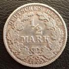 Photo numismatique  Monnaies Allemagne après 1871 Allemagne, Deutschland, Empire, Kaisereich 1/2 Mark 1/2 Mark 1905 G, J.16 TTB
