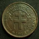 Photo numismatique  Monnaies Anciennes colonies Françaises Cameroun 1 Franc CAMEROUN Français, 1 franc 1943 LEC.14 TTB+