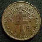 Photo numismatique  Monnaies Anciennes colonies Françaises Cameroun 1 Franc CAMEROU Français Libre, 1 franc 1943, LEC.16 TTB à SUPERBE