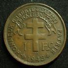 Photo numismatique  Monnaies Anciennes colonies Françaises Madagascar 1 franc Madagascar MADAGASCAR, 1 franc 1943, LEC.16 petits coups sur tranche sinon TTB+