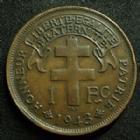 Photo numismatique  Monnaies Anciennes colonies Françaises Madagascar 1 franc Madagascar MADAGASCAR, 1 franc 1943, LEC.94 petits coups sur tranche sinon TTB+
