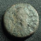 Photo numismatique  Monnaies Monnaies Byzantines Justin I er, Justinus I Pentnummium, Pentanummi JUSTIN I, JUSTINUS I, Ae Pentanummium, buste à droite, Christogramme, 12 mm, 1,88 grms, Sear.93 var. B/TB