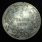 Photo numismatique  Monnaies Monnaies Françaises Défense nationale 5 Francs 5 Francs Cérès 1870 A Paris, 24,80 grms, G.743 TTB