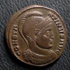 Photo numismatique  Monnaies Empire Romain CONSTANTIN I, CONSTANTINUS I, CONSTANTINO Follis, folles,  CONSTANTIN I, CONSTANTINUS I, Follis Aquilé (Aquilea) en 320, buste casqué, Virus Exercit AQP/SF, 17-19 mm, 3,10 grms, RIC.48 Quasi SUPERBE
