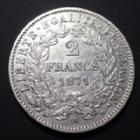 Photo numismatique  Monnaies Monnaies Françaises Troisième République 2 Francs 2 Frans Cérès avec légende 1871 A Petit A, G.530 TTB+