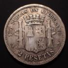 Photo numismatique  Monnaies Monnaies étrangères Espagne, Spain 2 Pesetas Espagne, SPAIN, 2 pesetas 1870 KM.653 TB