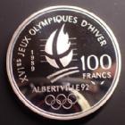 Photo numismatique  Monnaies Monnaies Françaises Cinquième république 100 francs jeux olympique Albertville 100 francs 1989 Jeux Olympique d'Albertville, ski alpin, G.1 BE Belle épreuve