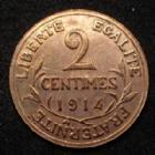 Photo numismatique  Monnaies Monnaies Françaises Troisième République 2 Centimes 2 centimes Daniel Dupuis 1914, Gad.107 petite rayure au revers sinon SUPERBE+