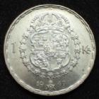 Photo numismatique  Monnaies Monnaies étrangères Suède, Sverige, Sweden 1 Krone, Krona Suède, Sweden, Sverige, Gustav V, 1 krone, 1 krona 1947, KM.814 SUPERBE+