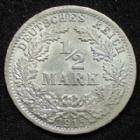 Photo numismatique  Monnaies Allemagne après 1871 Allemagne, Deutschland, Empire, Kaisereich 1/2 Mark 1/2 Mark 1915 A, Kaiserreich, Empire, J.16 SUPERBE+