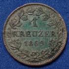 Photo numismatique  Monnaies Allemagne avant 1871 Allemagne, Deutschland, Bayern, Baviere 1 Kreuzer Bayern, Bavière, Ludwig II, 1 kreuzer 1869, AKS.183 petits coups sur tranche sinon TTB+