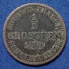 Photo numismatique  Monnaies Allemagne avant 1871 Allemagne, Deutschland, Hannover, Hannovre 1/2 Groschen Hannover, Hannovre, Georg V, 1/2 groschen 1858 B, AKS.151 TB à TTB