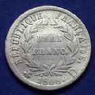 Photo numismatique  Monnaies Monnaies Françaises 1er Empire Demi franc NAPOLEON I, demi franc 1808 D Lyon, revers République, Gad.398 coup à l'avers sinon TTB