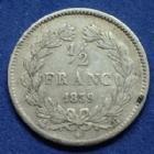 Photo numismatique  Monnaies Monnaies Françaises Louis Philippe 1/2 Franc LOUIS PHILIPPE 1/2 franc 1839 B Rouen, Gad.408 TB à TTB