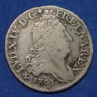 Photo numismatique  Monnaies Monnaies Royales Louis XIV 10 Sols aux 4 couronnes LOUIS XIV, 10 Sols aux 4 couronnes 1705 AA Metz, 2,80 grms, Gad.132 TB à TTB
