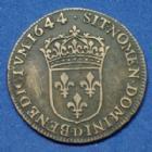 Photo numismatique  Monnaies Monnaies Royales Louis XIV 1/5 d'Ecu à la mèche courte faux d'époque LOUIS XIV, 1/5e d'Ecu à la mèche courte 1644 D Lyon, faux d'époque ! 28 mm, 6,16 grms, grafitti au revers, TB à TTB Rare !!
