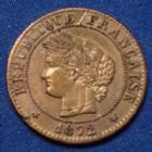 Photo numismatique  Monnaies Monnaies Françaises Troisième République 1 Centime 1 centime Cérès 1872 K Bordeaux, Gad.88 (SUP+) SPL